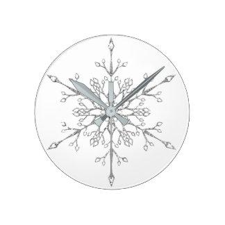 Elegant Faux Silver Glitter Snowflake Round Clock