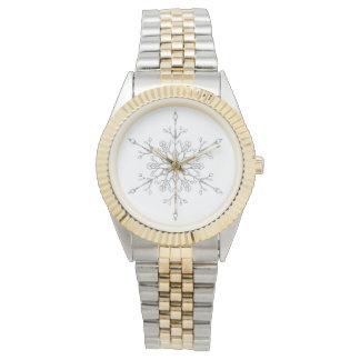 Elegant Faux Silver Glitter Snowflake Watch