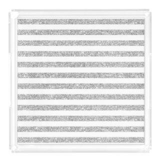 Elegant Faux Silver Glitter Stripe Pattern Acrylic Tray