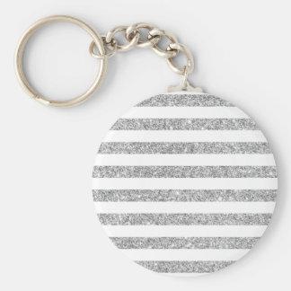 Elegant Faux Silver Glitter Stripe Pattern Basic Round Button Keychain