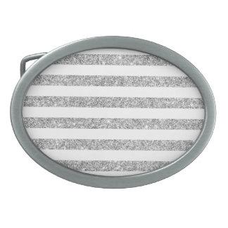Elegant Faux Silver Glitter Stripe Pattern Belt Buckles