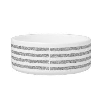 Elegant Faux Silver Glitter Stripe Pattern Bowl