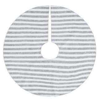 Elegant Faux Silver Glitter Stripe Pattern Brushed Polyester Tree Skirt