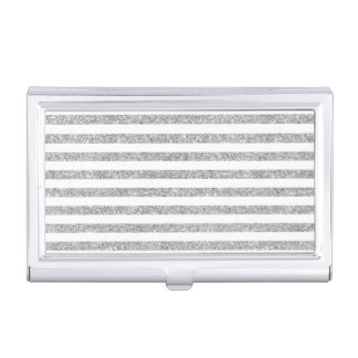 Elegant Faux Silver Glitter Stripe Pattern Business Card Holder