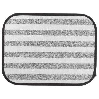 Elegant Faux Silver Glitter Stripe Pattern Car Floor Carpet