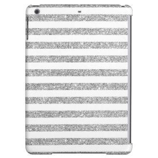 Elegant Faux Silver Glitter Stripe Pattern Case For iPad Air