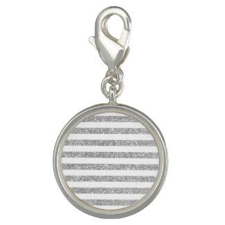 Elegant Faux Silver Glitter Stripe Pattern Charm