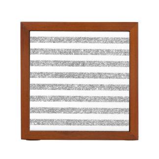 Elegant Faux Silver Glitter Stripe Pattern Desk Organizer