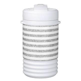 Elegant Faux Silver Glitter Stripe Pattern Drinks Cooler
