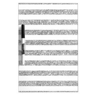 Elegant Faux Silver Glitter Stripe Pattern Dry Erase Board