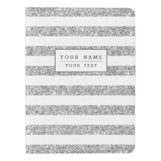 Elegant Faux Silver Glitter Stripe Pattern Extra Large Moleskine Notebook