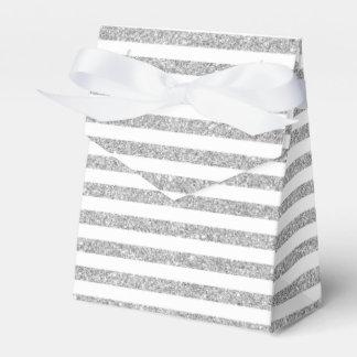 Elegant Faux Silver Glitter Stripe Pattern Favor Boxes