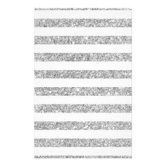 Elegant Faux Silver Glitter Stripe Pattern Flyer