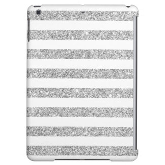 Elegant Faux Silver Glitter Stripe Pattern iPad Air Case