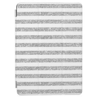 Elegant Faux Silver Glitter Stripe Pattern iPad Air Cover
