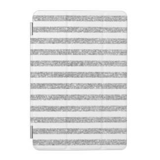Elegant Faux Silver Glitter Stripe Pattern iPad Mini Cover