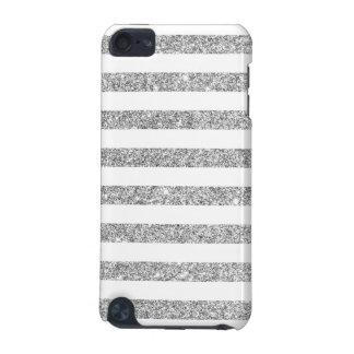 Elegant Faux Silver Glitter Stripe Pattern iPod Touch 5G Cases