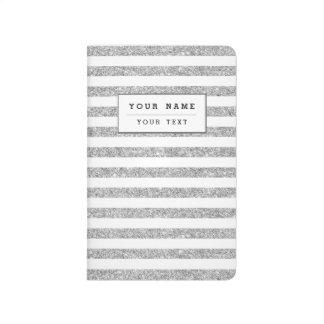 Elegant Faux Silver Glitter Stripe Pattern Journal