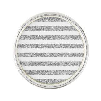 Elegant Faux Silver Glitter Stripe Pattern Lapel Pin