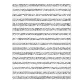 Elegant Faux Silver Glitter Stripe Pattern Letterhead