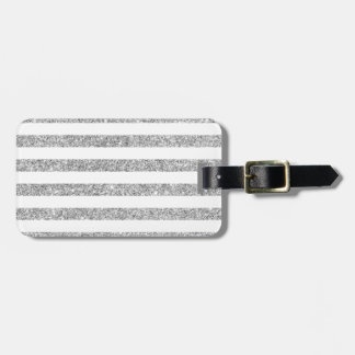 Elegant Faux Silver Glitter Stripe Pattern Luggage Tag