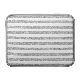 Elegant Faux Silver Glitter Stripe Pattern MacBook Air Sleeves