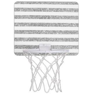 Elegant Faux Silver Glitter Stripe Pattern Mini Basketball Hoop