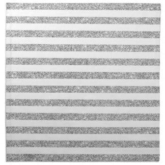 Elegant Faux Silver Glitter Stripe Pattern Napkin
