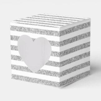 Elegant Faux Silver Glitter Stripe Pattern Party Favor Box