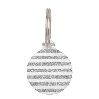 Elegant Faux Silver Glitter Stripe Pattern Pet ID Tag