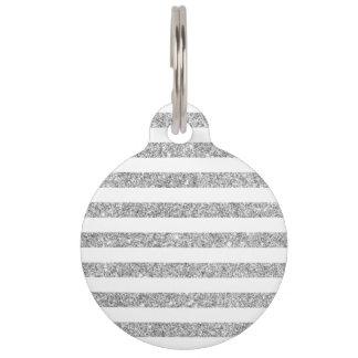 Elegant Faux Silver Glitter Stripe Pattern Pet Tag
