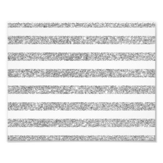 Elegant Faux Silver Glitter Stripe Pattern Photo Print