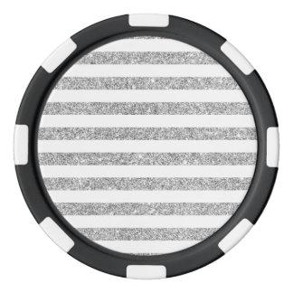 Elegant Faux Silver Glitter Stripe Pattern Poker Chips