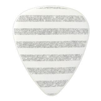 Elegant Faux Silver Glitter Stripe Pattern Polycarbonate Guitar Pick