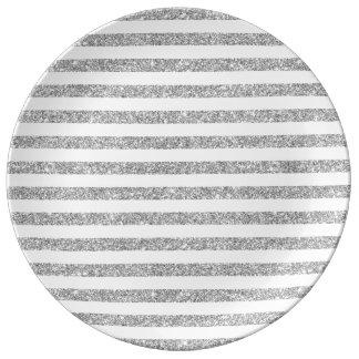 Elegant Faux Silver Glitter Stripe Pattern Porcelain Plates