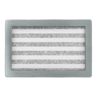 Elegant Faux Silver Glitter Stripe Pattern Rectangular Belt Buckle
