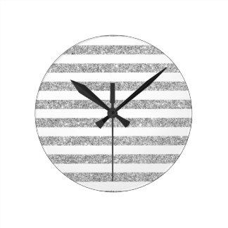 Elegant Faux Silver Glitter Stripe Pattern Round Clock