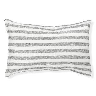 Elegant Faux Silver Glitter Stripe Pattern Small Dog Bed