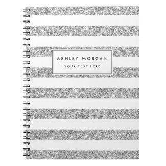 Elegant Faux Silver Glitter Stripe Pattern Spiral Notebook