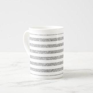 Elegant Faux Silver Glitter Stripe Pattern Tea Cup