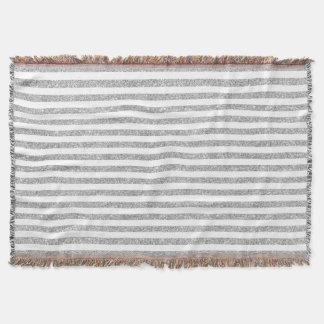 Elegant Faux Silver Glitter Stripe Pattern Throw