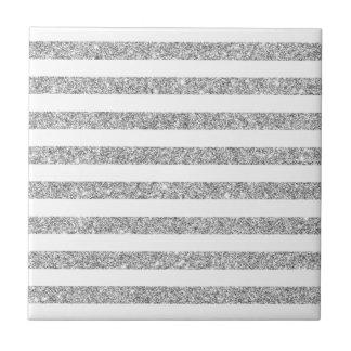 Elegant Faux Silver Glitter Stripe Pattern Tile