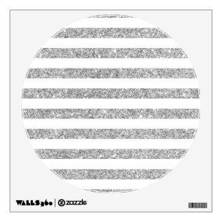 Elegant Faux Silver Glitter Stripe Pattern Wall Decal