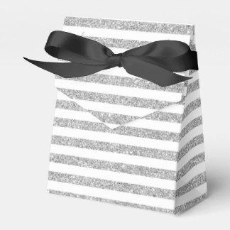 Elegant Faux Silver Glitter Stripe Pattern Wedding Favor Boxes