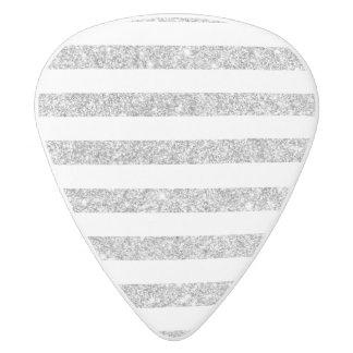 Elegant Faux Silver Glitter Stripe Pattern White Delrin Guitar Pick