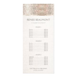 Elegant Faux Silver Sequins Salon Price List Menu Full Colour Rack Card