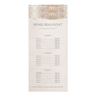 Elegant Faux Silver Sequins Salon Price List Menu Personalized Rack Card