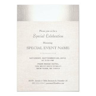 "Elegant Faux Silver Striped Beige Linen Look 5"" X 7"" Invitation Card"