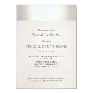 Elegant Faux Silver Striped Beige Linen Look Card