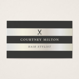Elegant Faux White Gold Grey Stripes Hairstylist Business Card